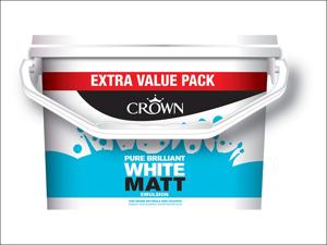 Crown Paints Matt Emulsion Paint Non-Breatheasy Matt Pure Brilliant White 7.5L