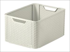 Curver Storage Box Rattan Storage Box Vintage White 30L 205496
