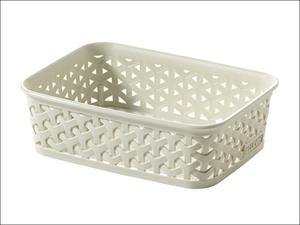 Curver Storage Basket My Style Rattan Storage Tray A6 Vintage White 216719