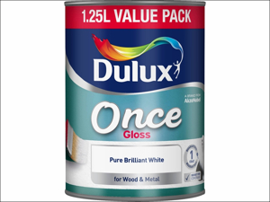 Dulux Non Drip Gloss Paint Once Gloss Pure Brilliant White 1.25L