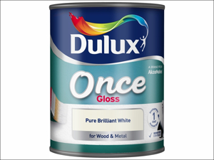 Dulux Non Drip Gloss Paint Once Gloss Pure Brilliant White 750ml