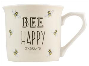 English Tableware Company Everyday Mugs Bee Happy Mug Fine China Cream DD0909D02