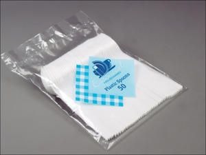 Essential Plastic Cutlery Plastic Dessert Spoon White x 50 PLS40X50