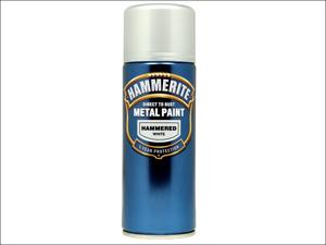 Hammerite Metal Hammered Paint Hammered Finish Aerosol White 400ml