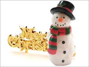 Anniversary House Cake Decoration Snowman Topper & Motto x 2 BX220