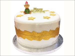 Anniversary House Cake Decoration Santas Elf Topper & Motto BX296