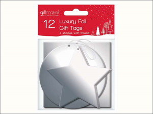 Anker Christmas Wrapping Foil Gift Tags Silver x 12 XAHGT1045