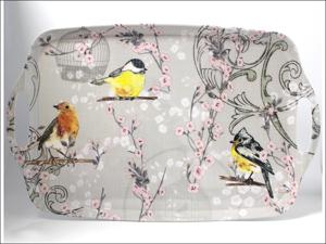 Home Living Melamine Tray Tea Tray + Handles Garden Birds