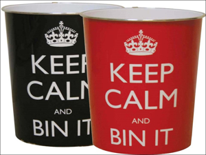 JVL Wastepaper Bin Keep Calm + Bin It' Bin 16-117