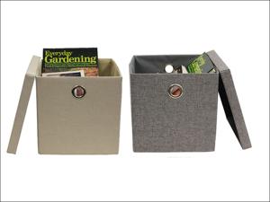 JVL Storage Basket Foldable Fabric Storage Box Assorted 13-324