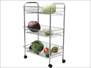 Kitchen Craft Vegetable Rack Vegetable Trolley 3 Tier KCTIDYTROLLEY