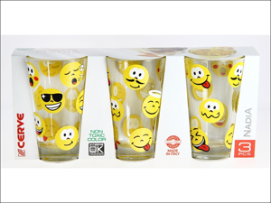Cerve Hi Ball Glass Emoticon Long Drinks Glass x 3 M68370