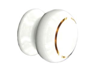 Securit Cupboard Handle Ceramic Cupboard Knob White/Gold 35mm x 2 S3579