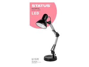 Status International Table Lamp Valencia Angled Desk Lamp E27 Black & Silver SADL2429AESB16