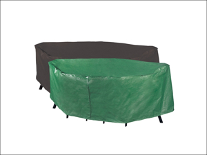 Bosmere Table & Chair Set Cover Reversible Rectangular Patio Cover 6 Seater Green & Black P330XL