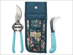Briers Garden Tool Set Julie Dodsworth Secateurs/ Knife & Pouch Blue B7002